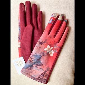 NWT - Velvet Red & Burgundy Floral Warm Gloves